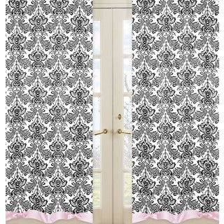 Sophia Pink and Black 84-inch Curtain Panel Pair