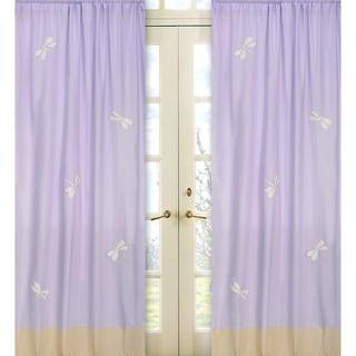 Purple Dragonfly Dreams Curtain Panel Pair
