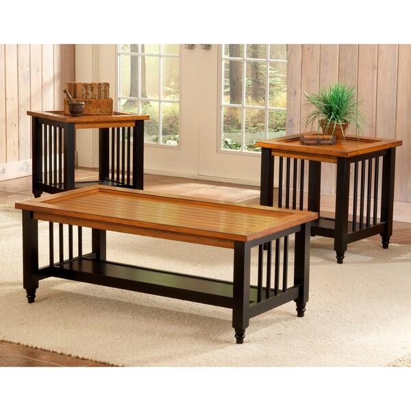 Blacksmith Country Pine/ Black 3-piece Table Set
