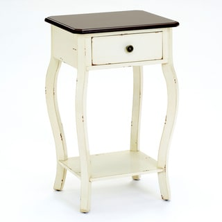 Bernards Distressed Off White One-drawer Table