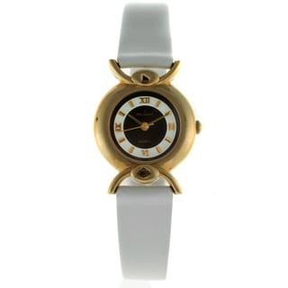 Peugeot Women's Vintage Goldtone White Strap Watch