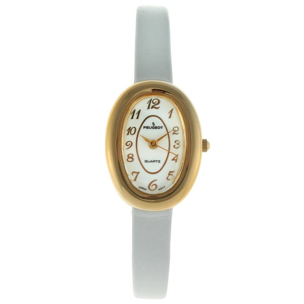Peugeot Women's Vintage White Leather Oval Watch