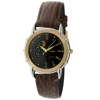 Peugeot Men's Sun/ Moon Leather Strap Watch