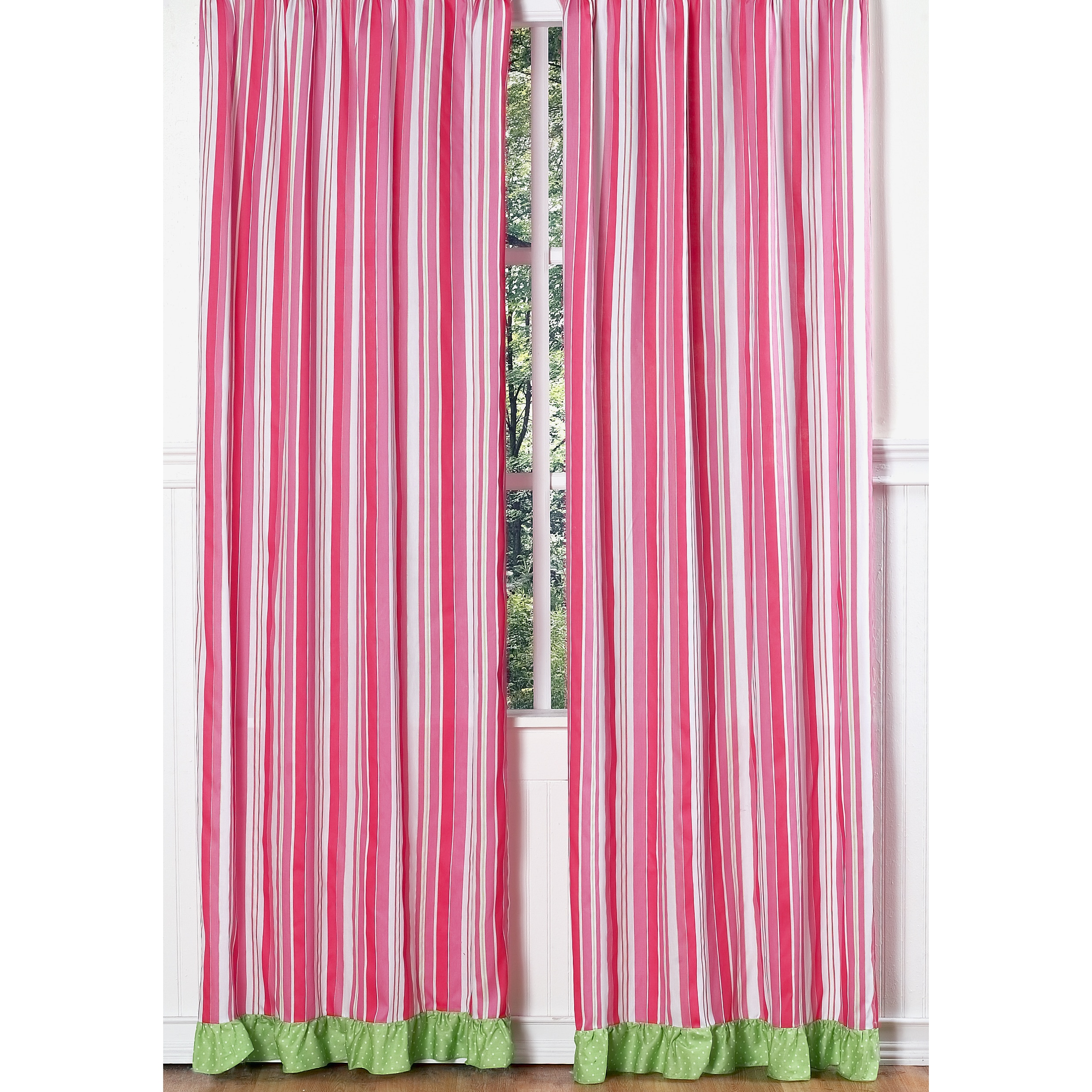 Sweet Jojo Designs Olivia Pink and Green Striped 84-inch Curtain Panel Pair at Sears.com