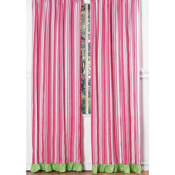Olivia Pink and Green Striped 84-inch Curtain Panel Pair