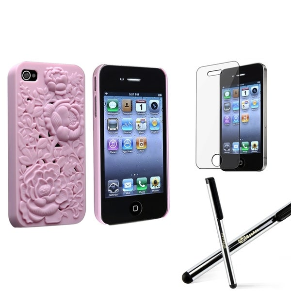 BasAcc Pink Sculpture Case/ Stylus/ Protector for Apple iPhone 4/ 4S
