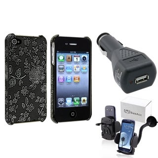 BasAcc Embossed Case/ Phone Mount/ Car Charger for Apple iPhone 4/ 4S