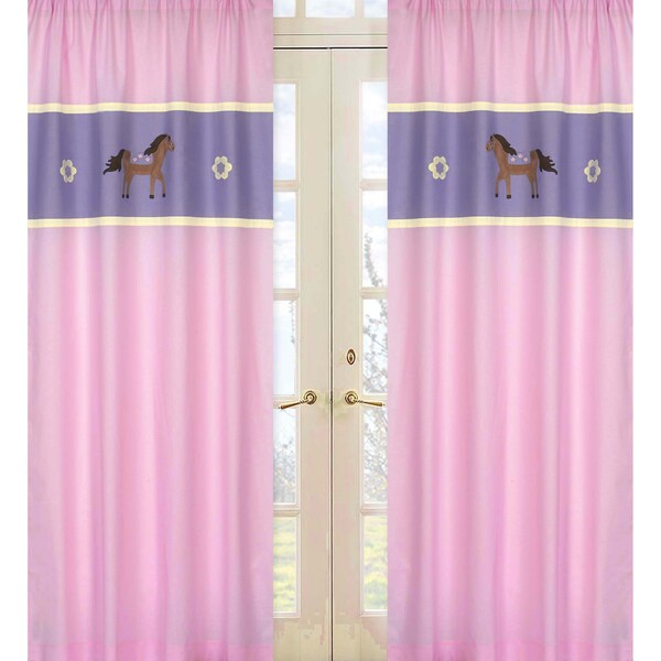 Pretty Pink Pony 84-inch Curtain Panel Pair