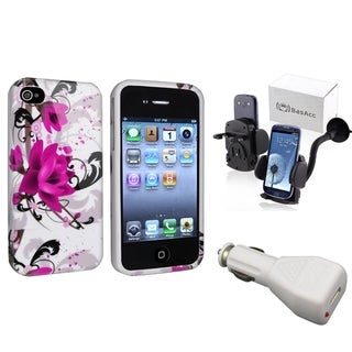INSTEN TPU Case Cover/ Windshield Mount/ Charger for Apple iPhone 4/ 4S