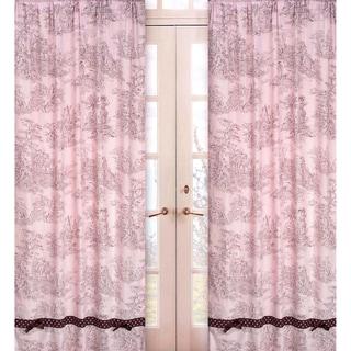 Pink & Brown Toile 84-inch Window Panel Pair