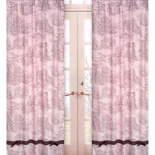 Pink & Brown Toile 84-inch Window Panel Pair