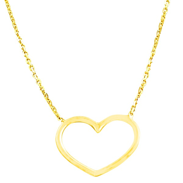 Fremada 14k Yellow Gold Polished Open Heart Adjustable Necklace
