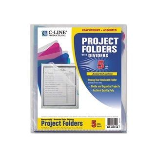 C-Line Clear Folders with Dividers (Pack of 5)