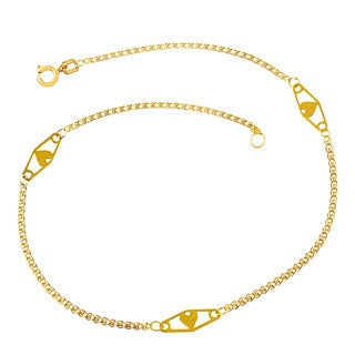 Fremada 14k Yellow Gold Heart Anklet