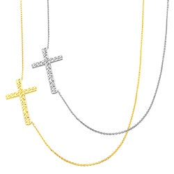 Fremada 14k Gold Sideways Diamond-cut Cross Adjustable Necklace