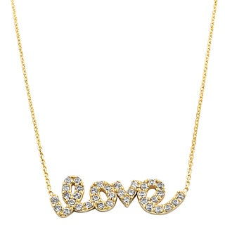 Fremada 14k Yellow Gold Cubic Zirconia Sideways Love Adjustable Necklace