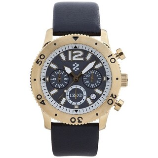 Izod Men's Goldtone Black Leather Strap Watch