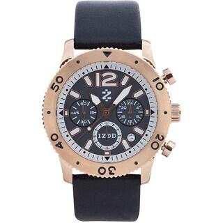 Izod Men's Rose Goldtone Black Leather Strap Watch