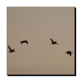 Pelicans in Flight Oversized Gallery Wrapped Canvas