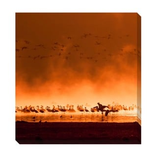 Gallery Direct Sunrise Flamingos Oversized Gallery Wrapped Canvas
