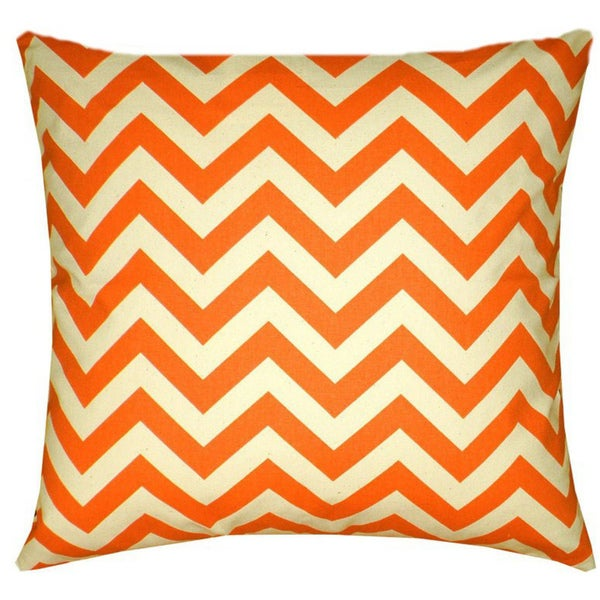 Taylor Marie Mandarin Orange and Natural Chevron Pillow Cover (18 x 18 inches)