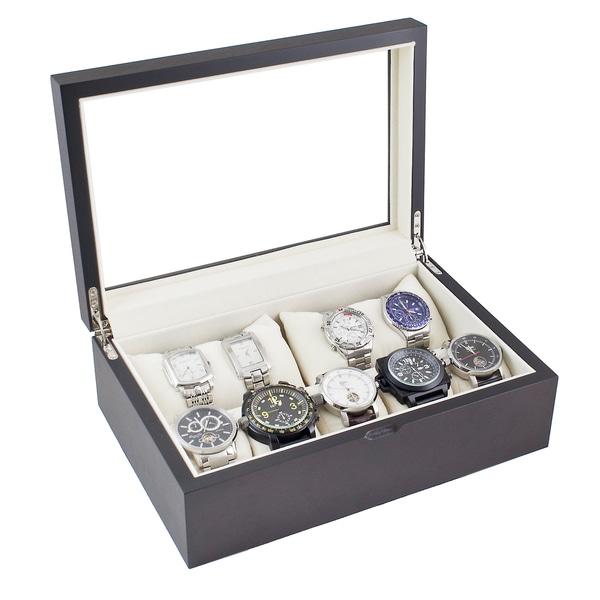 Caddy Bay Collection Vintage Dark Walnut/ Glass Top Watch Case