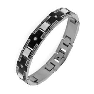 Steel Men's Cubic Zirconia Black Ion-plated Bracelet