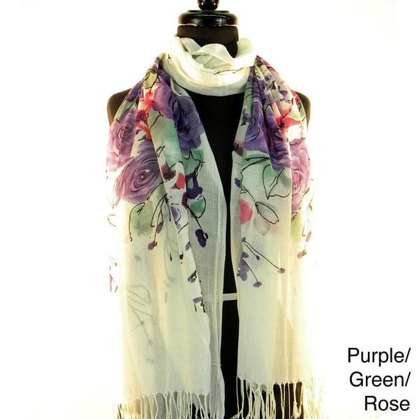 Pashmina/ Silk 'Spring Time Flowers' Fashion Scarf