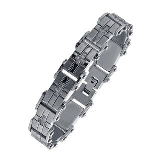 Highly Polished Stainless Steel Men's Cubic Zirconia Bracelet