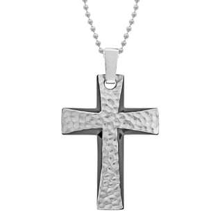 Steel Men's Hammered Black Ion-plated Cross Necklace