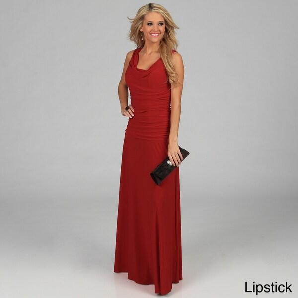 Night Way Women's Drape Neck Rouched Long Evening Dress