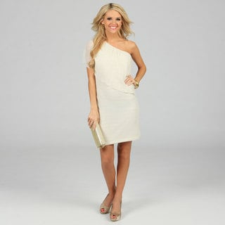 Morgan & Co Juniors Ivory One-shoulder Draped Dress