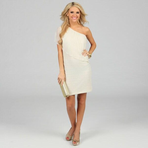 Morgan & Co Juniors Ivory One-shoulder Draped Dress