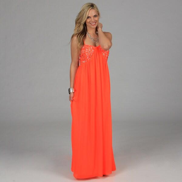 Morgan & Co Juniors Neon Coral Chunky Rhinestone Bust Long Dress