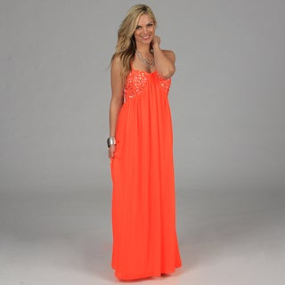 Morgan & Co Juniors Neon Coral Chunky Rhinestone Bust Long Dress