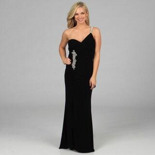Morgan & Co Junior's Black Rhinestone Embellished One-shoulder Dress