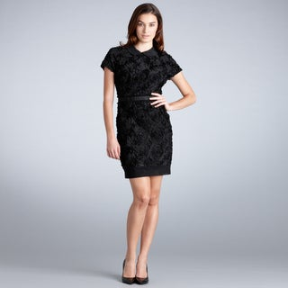 Muse Women's Black Textured Rose Overlay Cocktail Dress