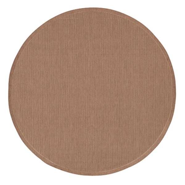 Recife Saddle Stitch Cocoa/ Natural Rug (8'6 Round)