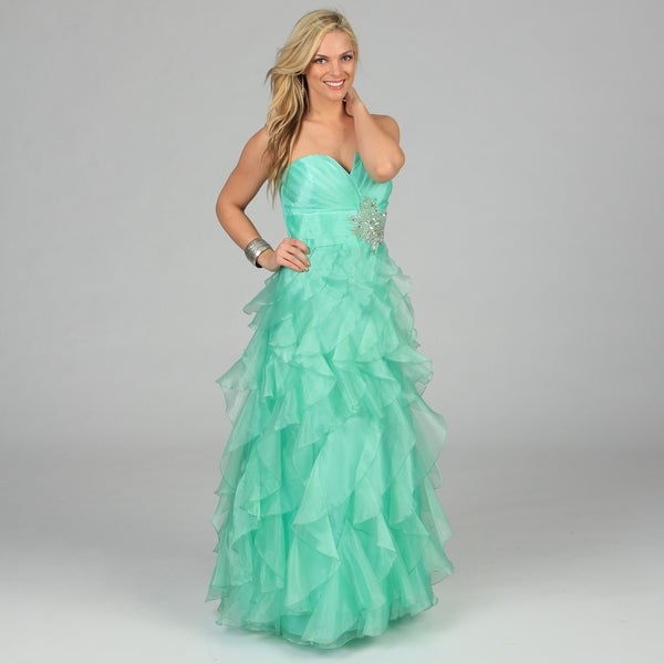 Morgan & Co Junior's Mint Strapless Ruffled Long Gown