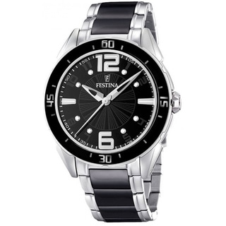 Festina Men's Black Dial and Silver Stainless Steel Quartz Watch