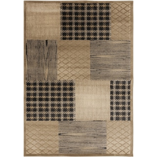Plaid Trellis Safari Tan Rug (7'9 x 10'6)