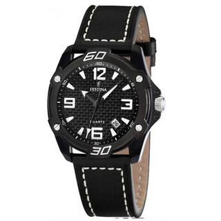 Festina Men's Sahara Black Leather Strap Watch