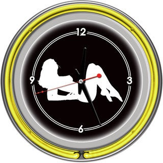 Shadow Babes A Series Clock w/ Two Neon Rings Yellow