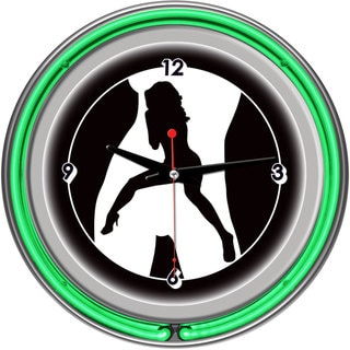 Shadow Babes C Series Two Green Neon Rings Clock
