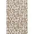 Mike Farrell Hand-tufted Ivory Letters Bone Novelty Wool Rug (3'3 x 5'3)