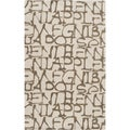 Mike Farrell Hand-tufted Ivory Letters Bone Novelty Wool Rug (2' x 3')