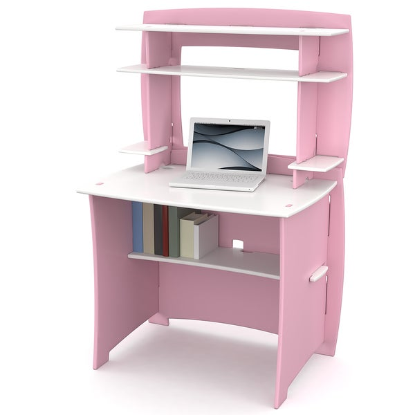 Legare 36 Inch Kids Pink And White Desk And Hutch