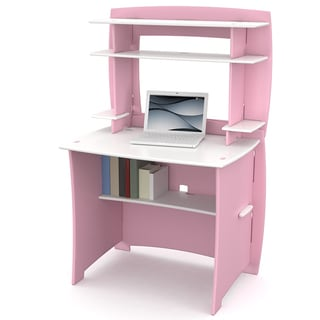 Legare 36-inch Kids' Pink and White Desk and Hutch