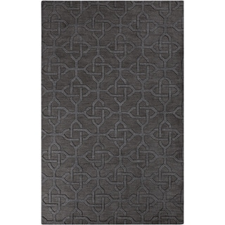 Hand-crafted Charcoal Links Charcoal Grey Geometric Wool Rug (8' x 11')