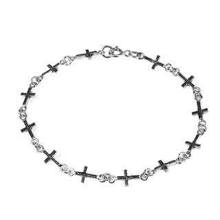 Sterling Silver Dotted Christian Cross Link Bracelet (Thailand)